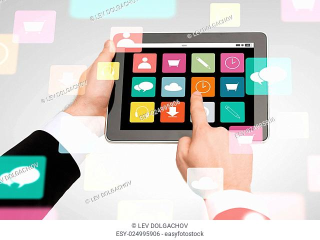 business, multimedia ,internet and technology concept - close up of man hands holding tablet pc computer with menu icons on screen