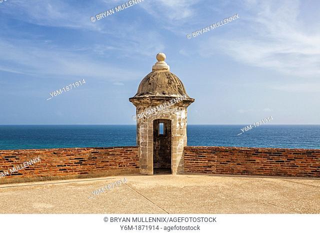 Puerto Rico, Old San Juan, San Cristobal Castle, Turret And Sea