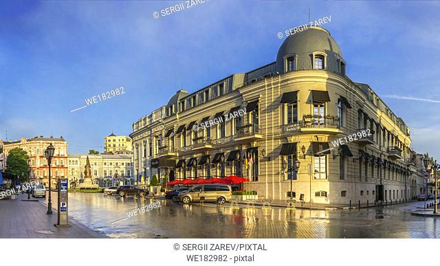 Odessa, Ukraine - 06. 12. 2018. Sunny summer morning in the historical center of Odessa, Ukraine. Catherine Square and Hotel Paris