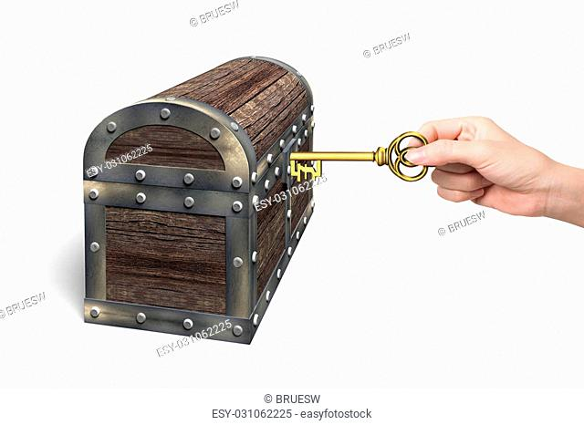 Hand holding pound symbol key to open the treasure chest, isolated on white background