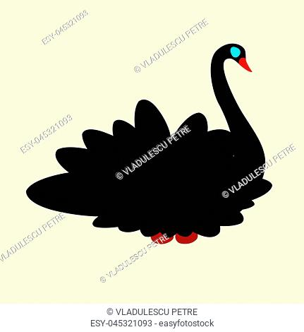 black swan with red beak and blue eyes