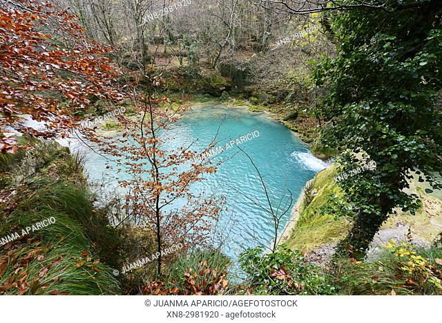 Turquoise water in the source of the Uderra River natural Park Urbasa-Andia, Baquedano, Navarre, Spain, Europe