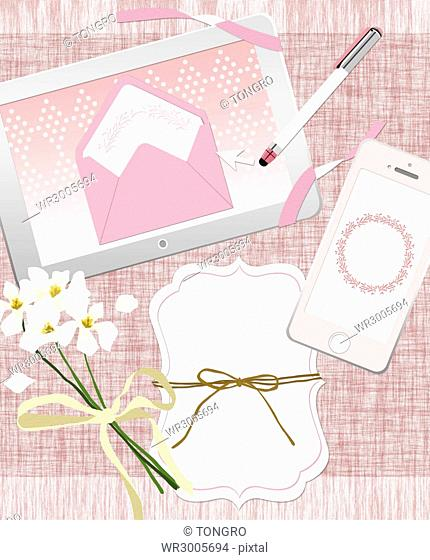 Mobile wedding invitation cards with flowers