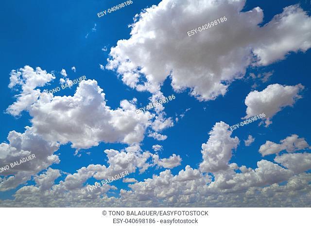 Blue sky with summer cumulus clouds