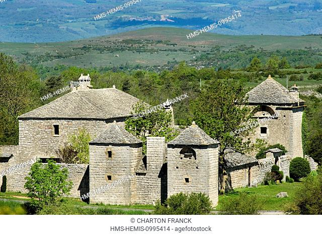 France, Aveyron, Parc Naturel Regional des Grands Causses (Natural Regional Park of Grands Causses), Millau, farm Brouzes (aerial view)