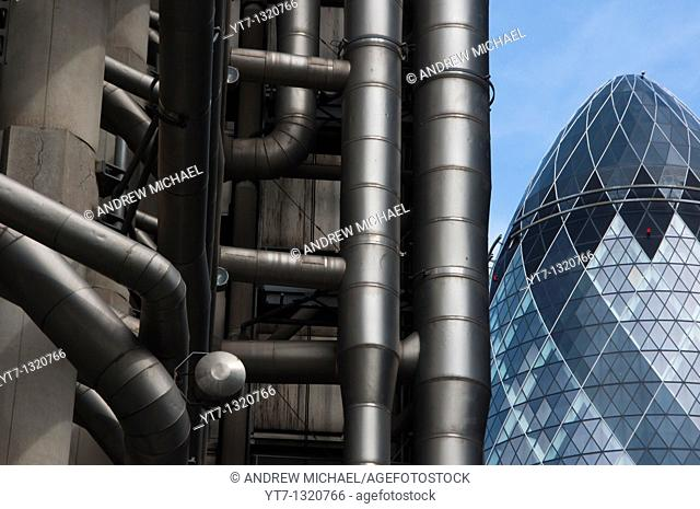 Lloyds of London and the Gherkin buildings in London's financial district  England