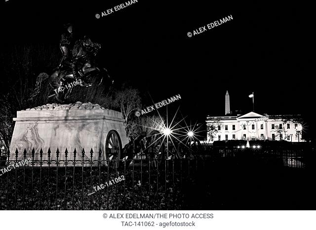 The view of The White House and The Washington Monument on a clear winter night in Washington, D.C.. (Digitally altered black and white)