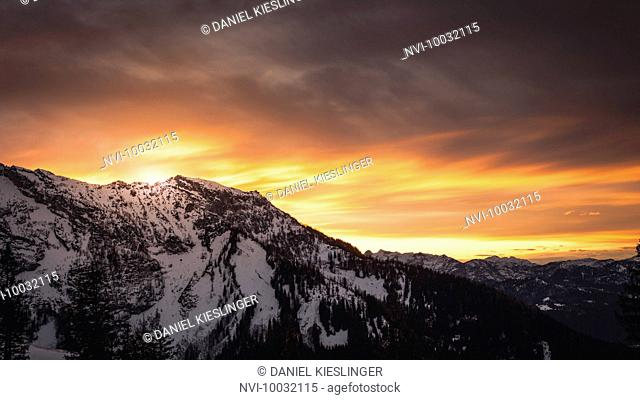 Mountains at sunset with Eagle's Nest in the winter, Rossfeld, Berchtesgaden, Bavaria, Germany
