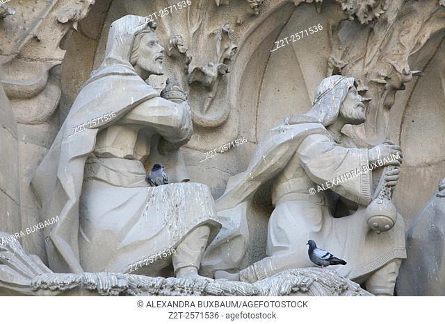 Detail of Nativity facade at Sagrada Familia, Barcelona, Spain