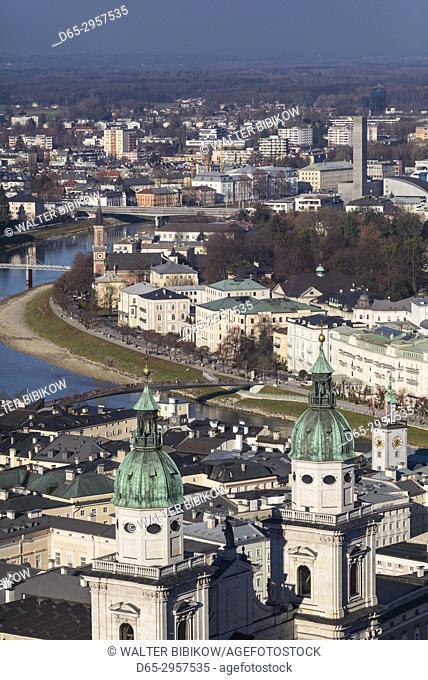 Austria, Salzburgerland, Salzburg, elevated city view from the Festung Hohensalzburg castle