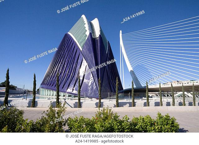 Spain, Valencia Comunity, Valencia City, The City of Arts and Science built by Calatrava, The Agora and Assut del Or Bridge