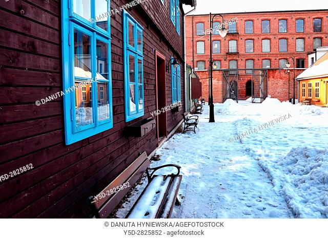 Winter scene, Open-air Museum - skansen of regional Wooden Architecture - integral part of Central Museum of Textiles, located on main artery of Lodz -...