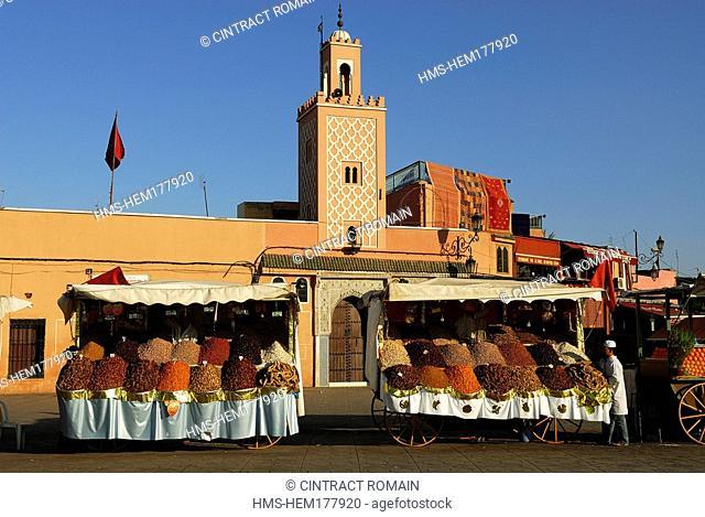 Morocco, High Atlas, Marrakesh, dried fruits array on Djemaa El Fna Square