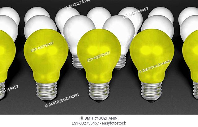 Row of yellow light bulbs in front of white ones on grey textured background. Idea concept