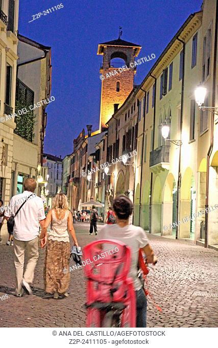 PADOVA ITALY-JUNE 17: Via Roma street at dusk on June 17, 2012 in Padova Italy