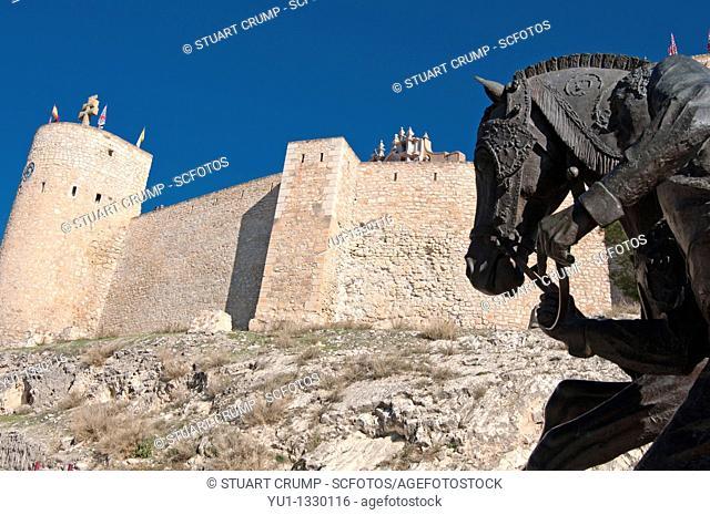 Monument to the horses of the wine, outside the medieval castle of Santa Cruz at Caravaca de la Cruz, Murcia, Spain