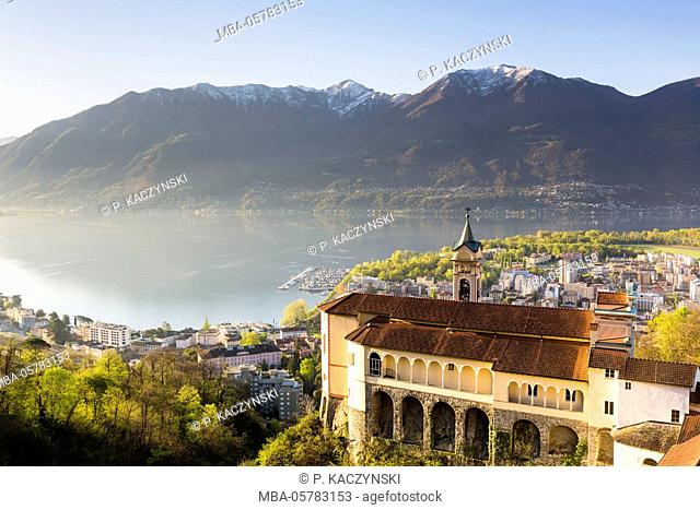 View on the Lago Maggiore from the pilgrimage church Madonna del Sasso, Lucerne, Ticino, Switzerland, Alps