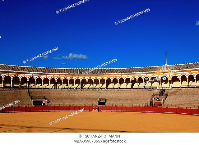 Spain, Andalusia, Seville, the bullfighting arena, Plaza de Toros, inside, arena