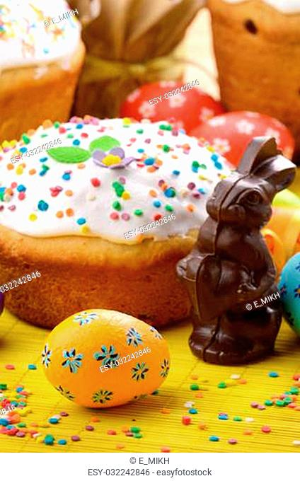 Easter eggs, cake and bunny shape chocolate