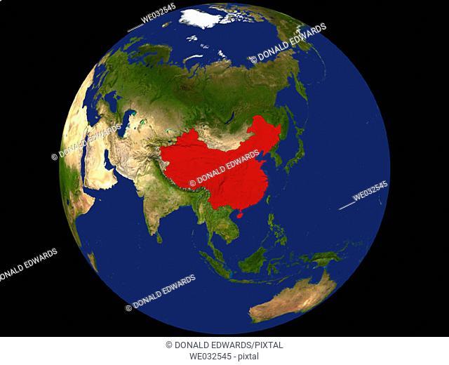 Highlighted Satellite Image Of China