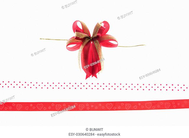 Red&Gold ribbon and bow isolated on white background