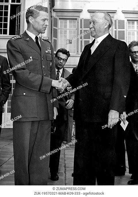 Mar. 21, 1957 - Bonn, Germany - West Germany's first chancellor KONRAD ADENAUER began his career in politics as a member of the Cologne City Council