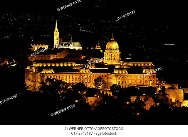 Hungary, Central Hungary, Budapest, Danube, Capital City, castle hill in Buda, panoramic view to Matthias Church, Fishermans Bastion and Buda Castle, night shot