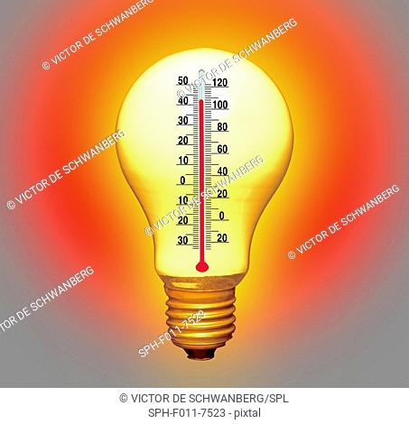 Electrical lightbulb and thermometer, computer artwork