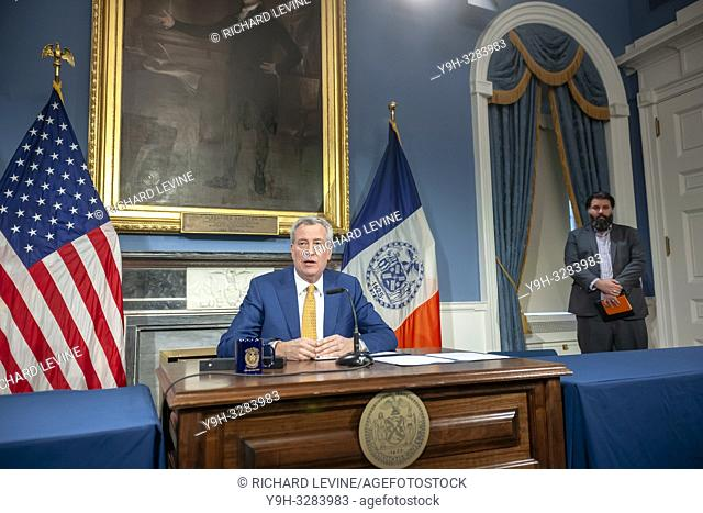 New York Mayor Bill de Blasio at a bill signing in New York City Hall on Wednesday, January 2, 2019. The mayor signed into law legislation that enables stronger...