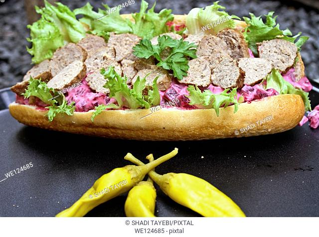 Fresh Sandwich with meat,lettuce and bread