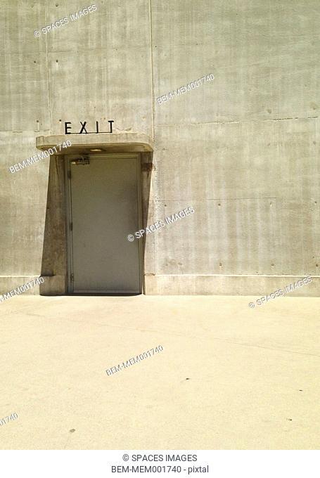 Exit sign over door in Hoover Dam, Boulder City, Nevada, United States