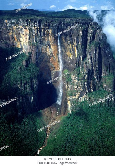 Angel Falls or Kerepakupai Mer in the indigenous Pemon language the tallest waterfall in the world cascading down from the table-top mountain Auyantepui