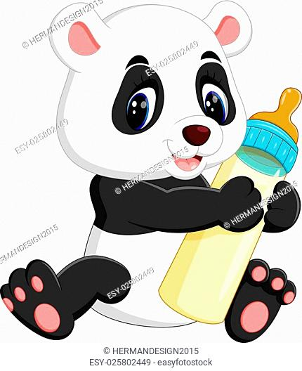 illustration of cute baby panda cartoon
