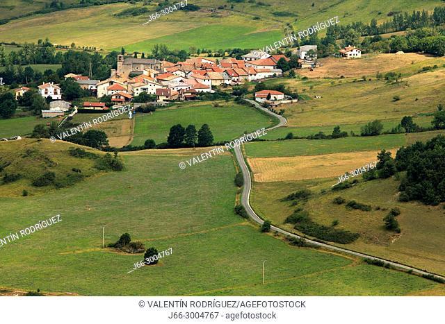 The Unano village in the Andía valley south of the Sierra Aralar natural park. Navarra