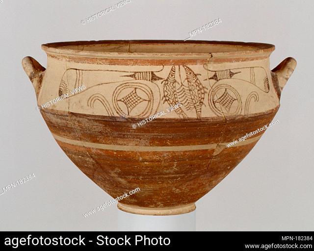 Terracotta krater. Period: Late Cypriot III; Date: ca. 1150-1100 B.C; Culture: Cypriot; Medium: Terracotta; Dimensions: H. 8 7/16 in. (21