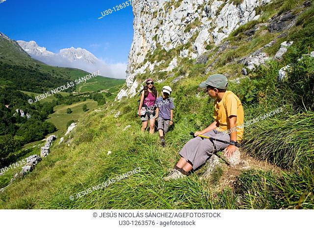 Family practice mountaineering in the Urrieles massif, in the Picos de Europa National Park, Asturias, Spain