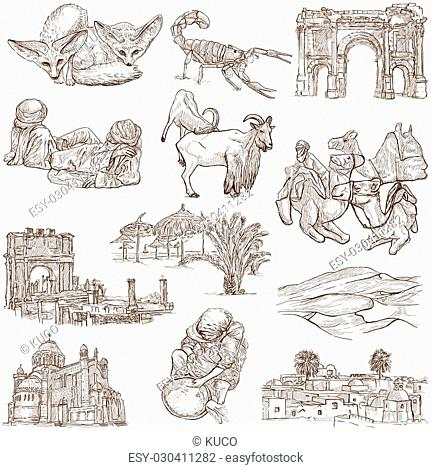 Travel series: ALGERIA - Collection of an hand drawn illustrations. Description: Full sized hand drawn illustrations, original freehand sketches