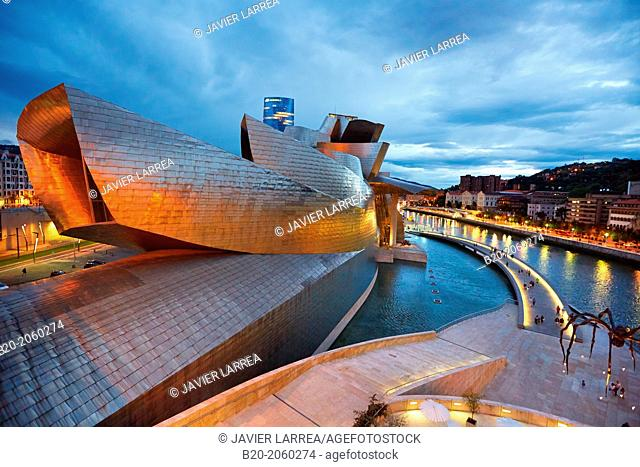 Guggenheim museum and Iberdrola tower. Bilbao. Bizkaia. Basque Country. Spain