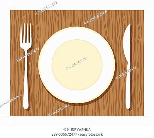 Empty plate with fork and knife on wooden background for your design