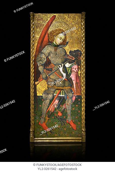 Gothic altarpiece of Archangel Michael ( Sant Miguel Arcangel) by Blasco de Branen of Saragossa, circa 1435-1445 , tempera and gold leaf on for wood