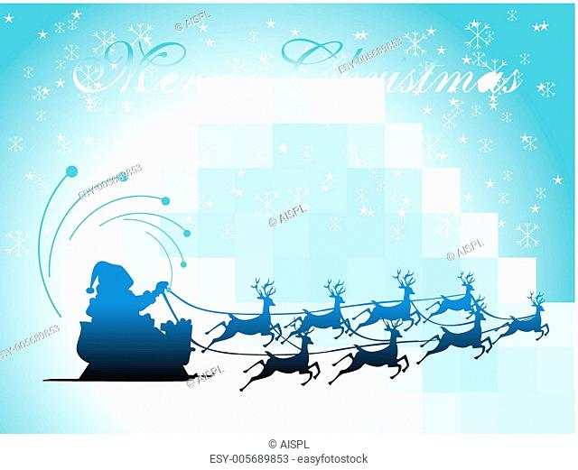 vector illustration, santa with his sleigh