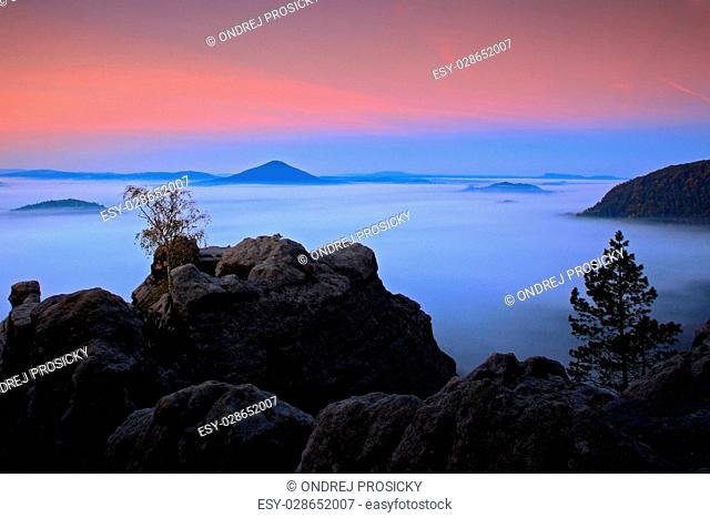 Before Sunrise in a beautiful mountain landscape of Czech-Saxony