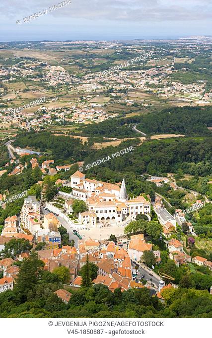 View of Sintra and vicinity with Sintra National Palace, Palacio Nacional de Sintra, Town Palace, Palacio da Vila from Moorish Castle, Castle of the Moors