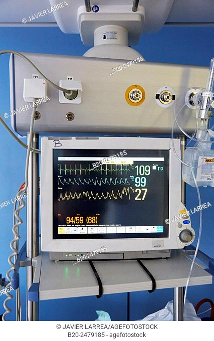 Screen vital signs, Neonate Intensive care Unit, ICU, Hospital Donostia, San Sebastian, Gipuzkoa, Basque Country, Spain