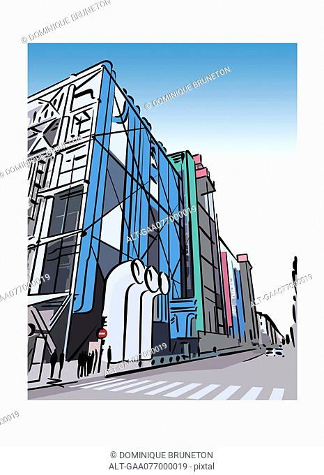 Illustration of the Pompidou Centre in the Beaubourg area of Paris, France