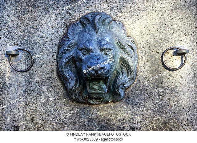 Lion shaped iron cast water spout, Glasgow Green, Glasgow, Scotland, UK