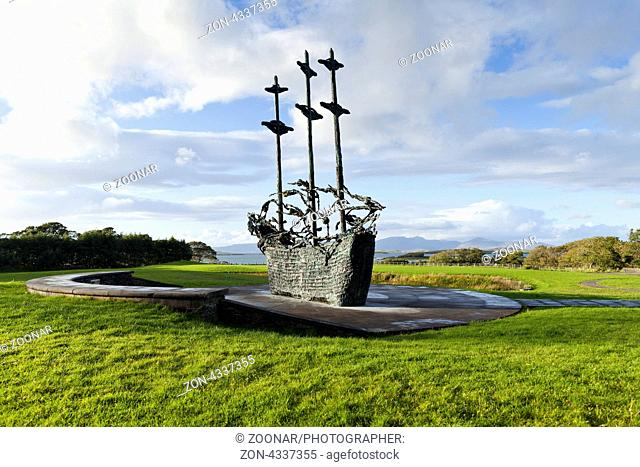 The National Famine Memorial, by artist John Behan, at Murrisk, on the banks of Clew Bay, County Mayo, Ireland