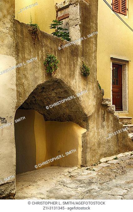 The narrow winding streets and staircases in the medieval village of Vrbnik on the Croatian island of Krk