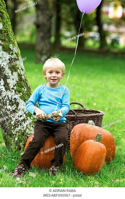 Boy with balloon and pumpkins in garden