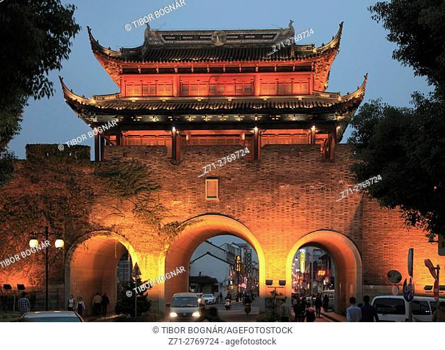 China, Jiangsu, Suzhou, Shantang Old Town, Chang Gate, night,